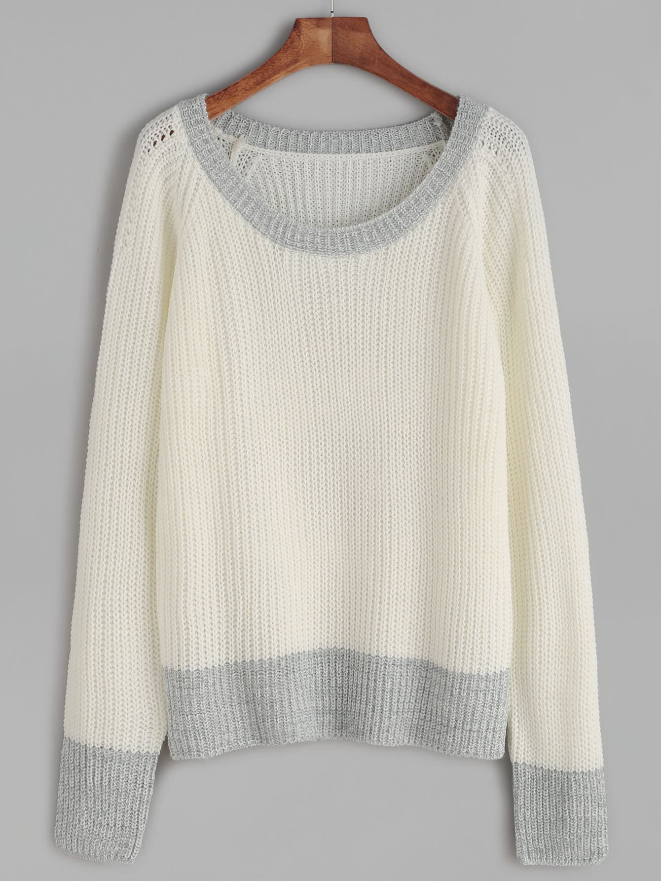 White Contrast Trim Waffle Knit Raglan Sleeve Sweater sweater160901462
