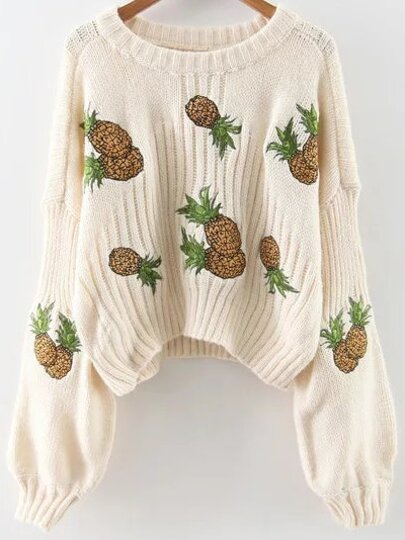 White Pineapple Embroidery Drop Shoulder Sweater