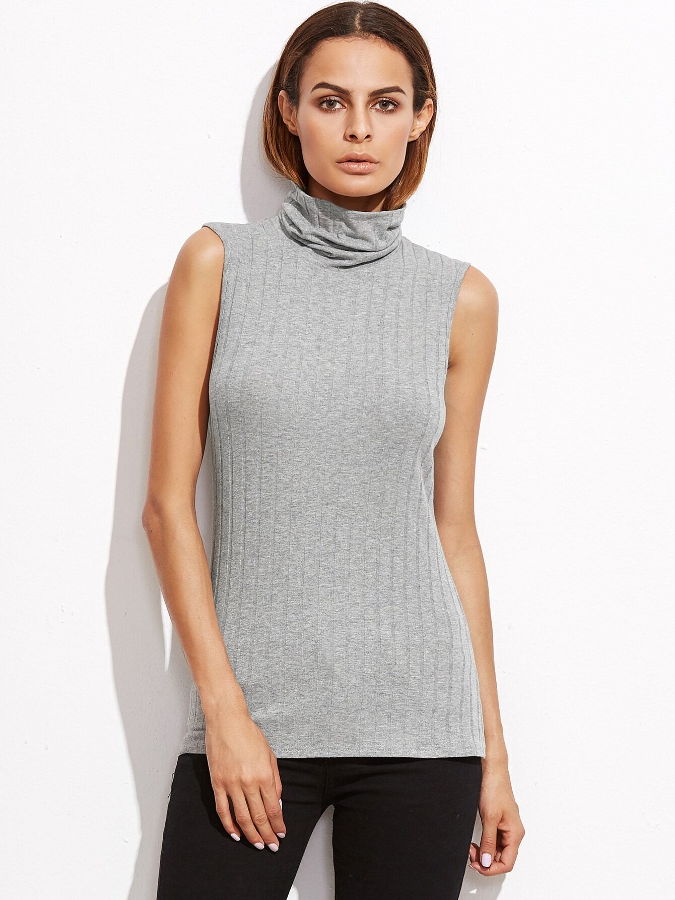 Heather Grey Cowl Neck Ribbed Sleeveless Top vest161018701