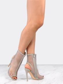 Stiletto Mesh Ankle Booties GREY
