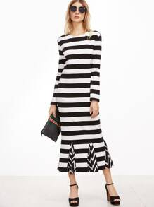 Black And White Striped Godet Dress