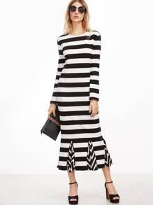 Black And White Striped Godet Dress