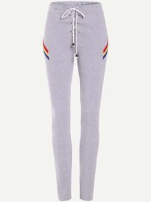 Heather Grey Lace Up Front Striped Detail Skinny Sweatpants