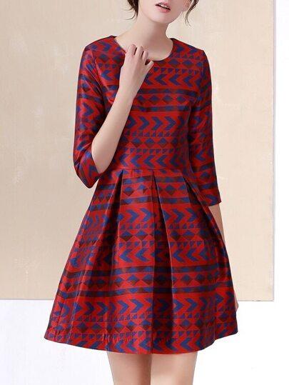 Red Crew Neck Print A-Line Dress