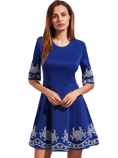 Light Royal Blue Embroidered Half Sleeve Flare Dress