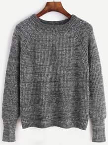 Pull manche raglan tricoté marné - gris