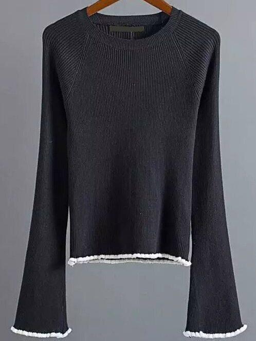 Black Contrast Trim Bell Sleeve Knitwear sweater161012217