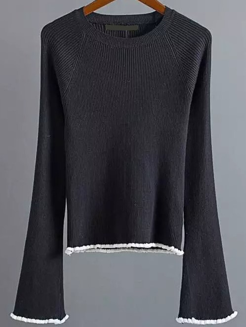 Black Contrast Trim Bell Sleeve Knitwear sweater161012217