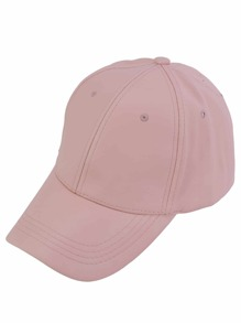 Casquettes base-ball hip-hop en similicuir - rose
