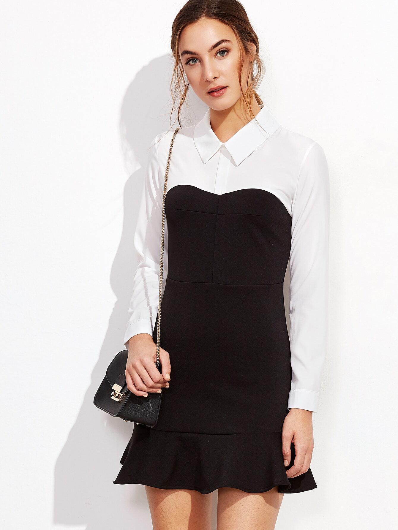 Color Block Ruffle Hem Shirt Dress dress161017103