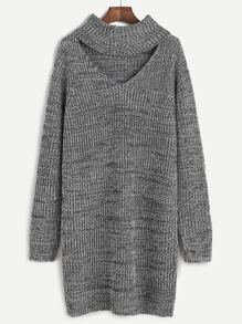 Grey Marled Knit Cutout Turtleneck Sweater Dress