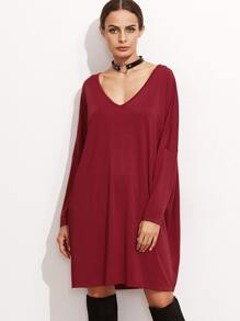 Burgundy V Neck Drop Shoulder Seam Shift Dress