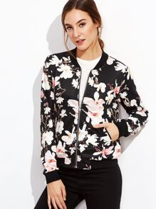 Black Flower Print Zip Up Bomber Jacket