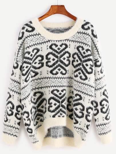 White Geo Pattern High Low Fluffy Sweater
