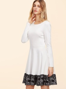 White Contrast Lace Trim Fit And Flare Dress