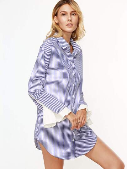 Blue And White Vertical Striped Contrast Ruffle Cuff Shirt Dress