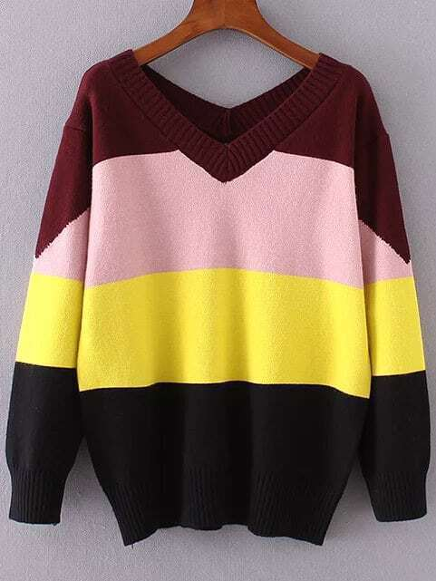 Color Block V neck Ribbed Trim Knitwear sweater161031212