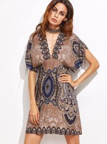 Light Coffee Tribal Print Dress With Choker Detail