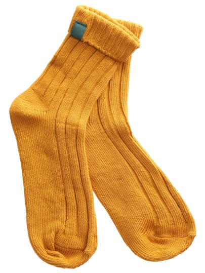 Yellow Casual Ribbed Foldover Socks