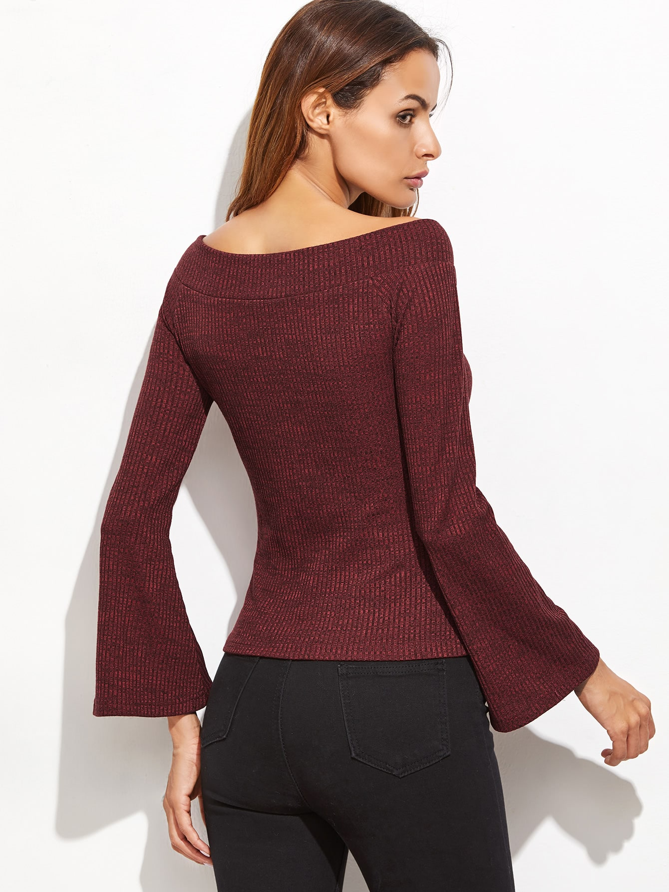 Red v neck bell sleeve t shirt shein sheinside for Bell bottom sleeve shirt