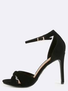 Criss Cross Single Sole Heels BLACK