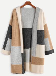 Color Block Drop Shoulder Open Front Sweater Coat