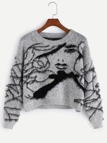 Pull duveteux motif avatar - gris