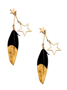 Gold Plated Hollow Star Feather Drop Earrings