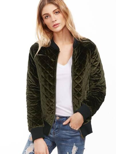 Olive Green Ribbed Trim Quilted Velvet Bomber Jacket