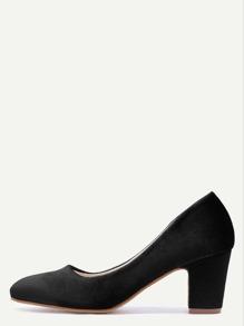 Black Velvet Almond Toe Chunky Heels