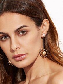 Gold Plated Metal Ball Circle Drop Earrings
