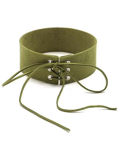 Green Lace Up Wide Choker Necklace