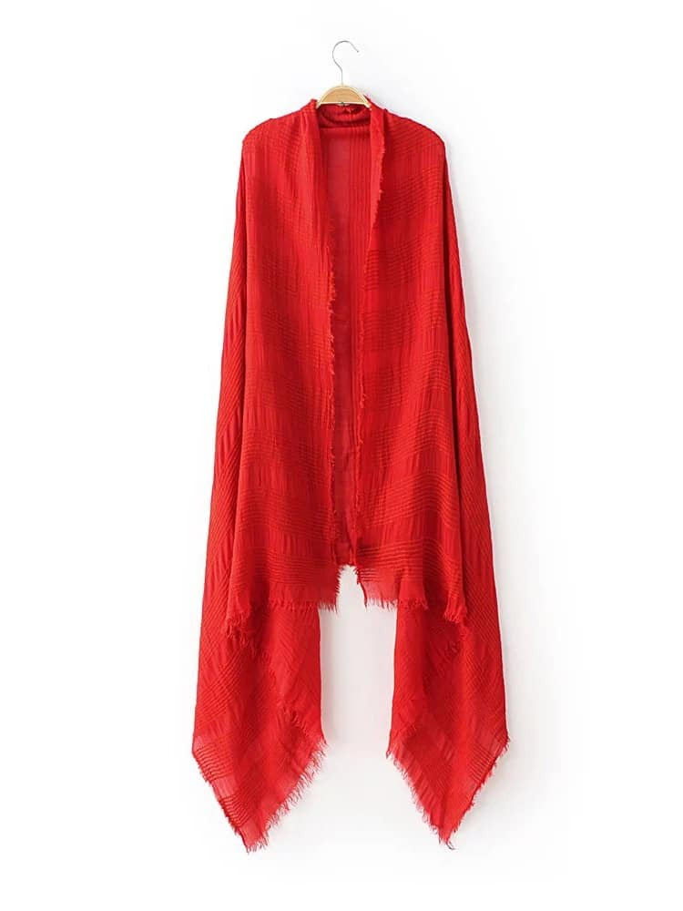 Red Raw Edge Striped Textured Scarf scarf161015211