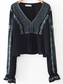 Black Tribal Embroidery V Neck Blouse