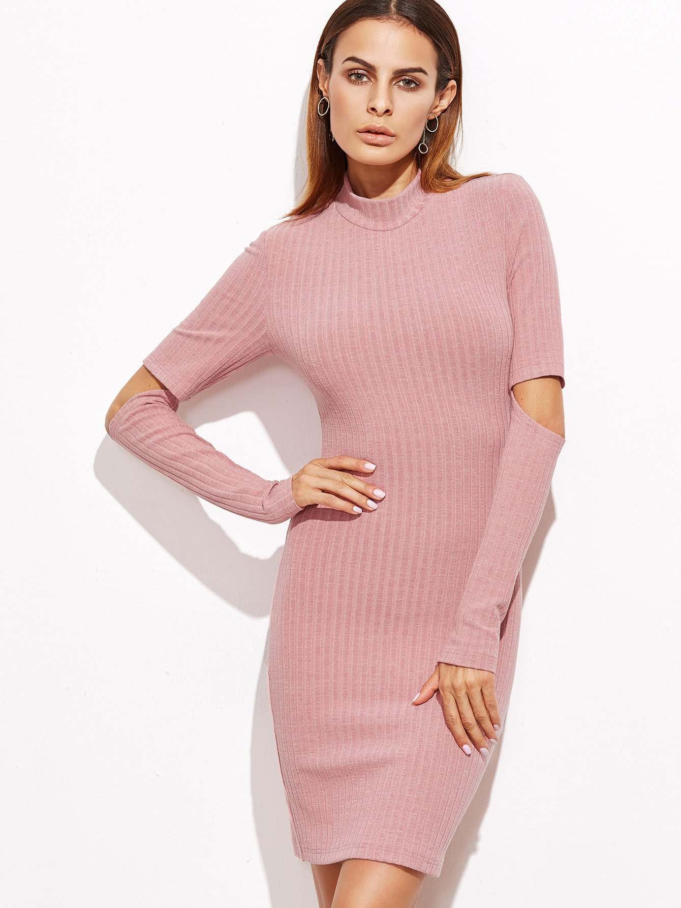 Pink Open Elbow Ribbed Bodycon Dress dress161019723