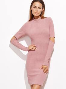 Pink Open Elbow Ribbed Bodycon Dress