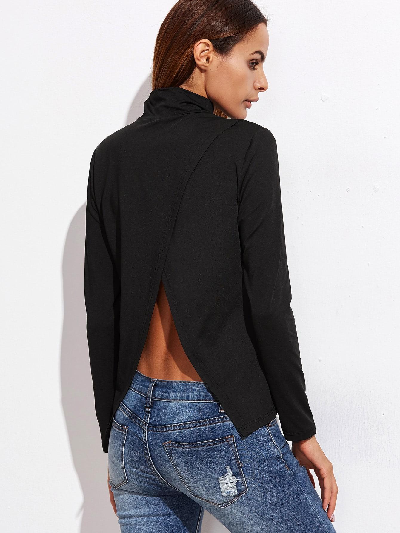 все цены на Black Cowl Neck Split Back T-shirt