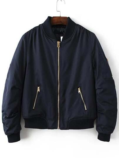 Navy Ribbed Trim Bomber Quilted Jacket
