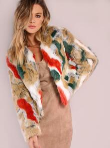 Multi Color Cropped Fur Coat BRICK