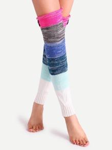 Multicolor Patchwork Button Knit Leg Warmers
