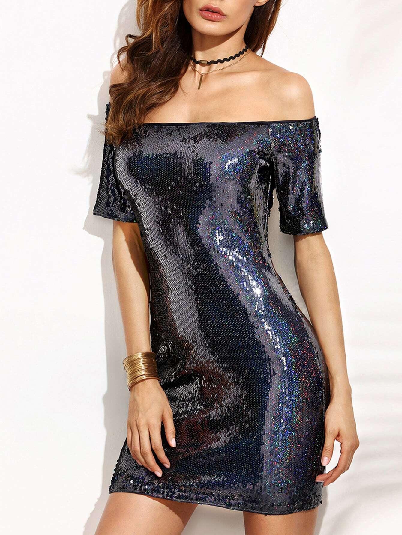 Фото Black Iridescent Off The Shoulder Sequin Bodycon Dress. Купить с доставкой