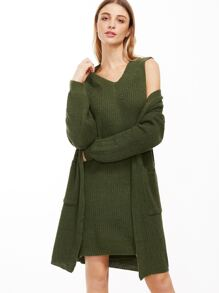 Army Green V Neck Sweater Vest With Coat