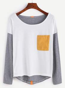 Drop Shoulder High Low T-shirt With Tape Detail