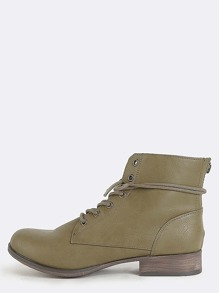 Faux Leather Lace Up Boots OLIVE