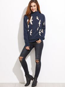 Navy Bird Pattern Turtleneck Fluffy Sweater