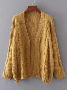 Veste ouvert tricoté en câble - gingembre
