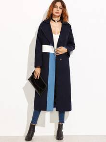 Color Block Oversized Notch Collar Drop Shoulder Coat