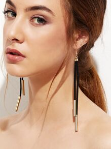 Gold Plated Suede Cord Drop Earrings