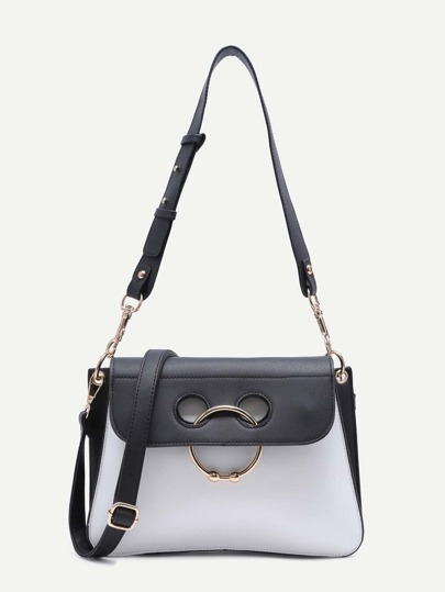Color Block Metal Ring Convertible Crossbody Bag