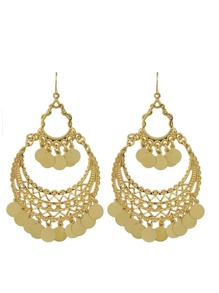 Indian Gold Color Big Chandelier Earrings